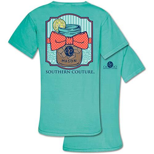 (Mason Jar Tea Chalky Mint Green Comfort Cotton Blend Novelty T-Shirt)