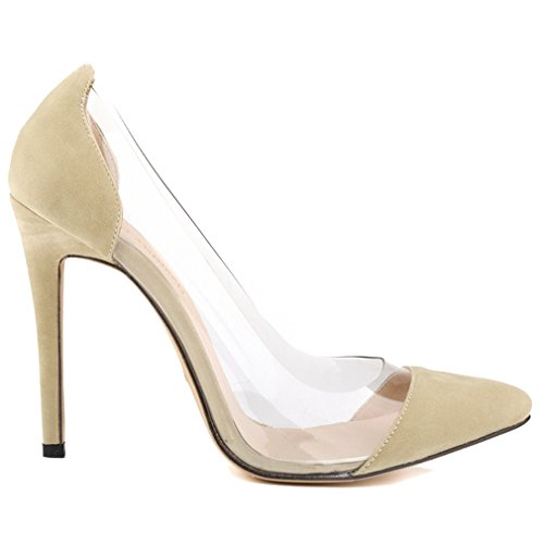 Xianshu Heel Shoes Mouth Shallow Pointed High Glue Toe Pumps Transparent Stiletto Stitching Abricot Y4nYqApwr