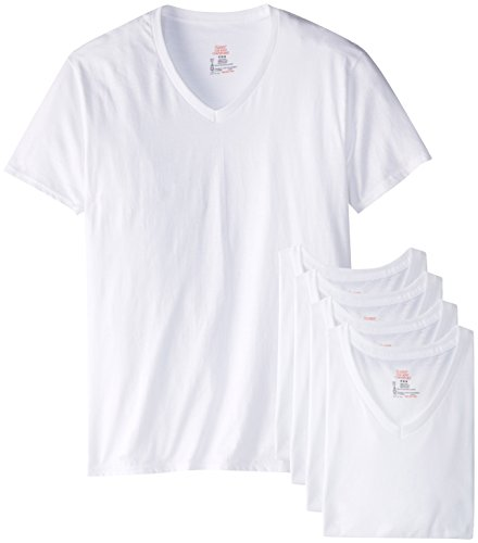 Hanes Men's Best V-Neck T-Shirt, White, Medium