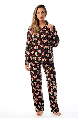 #followme Printed Flannel Button Front PJ Pant Set 6371-10237-3X -