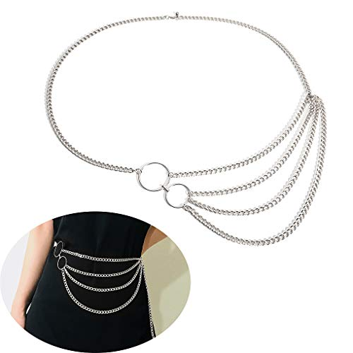 Jurxy Multilayer Alloy Waist Chain Body Chain for Women Waist Belt Pendant Belly Chain Adjustable Body Harness for Jeans Dresses - Silver Style 6