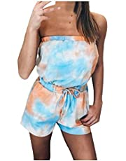 Womens Rompers and Jumpsuits Strapless Tube Top Romper Casual Tie Dye One Piece Jumpsuit for Women