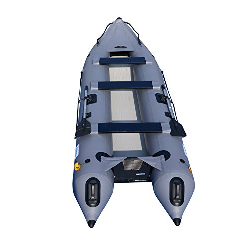 (BRIS 14.1ft Inflatable Boat Inflatable Kayak 3 Person Kayak Canoe Fishing Inflatable poonton Boat)