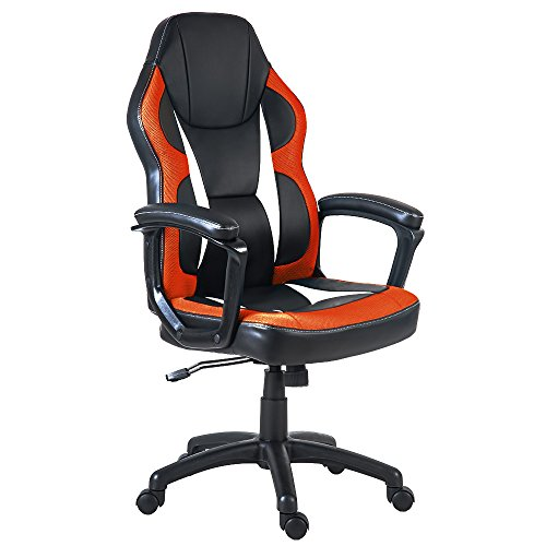 Merax Racing Gaming Style Task Chair for Home and Office PU Leather and Mesh (Orange)
