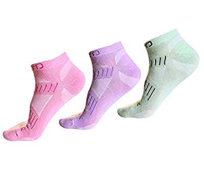 Women or Girls 3 Pairs Casual Low Cut Socks Summer Ankle Wicking Athletic Socks for Running Hiking Trekking Tennis Outdoor Sports (One Size, Pink,Purple and Light Green )