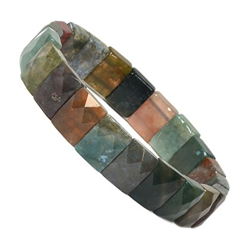 """Natural Multicolor Indian Agate Gemstone Faceted 12mm Rectangle Beads Stretch Bracelet 7"""" from Justinstones"""
