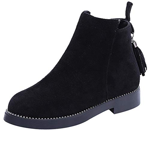 Realdo Clearance Sale Women Round Toe Tassel Booties Zipper Suede Solid Color Shoes Martin Boots(US 6.5,Black1)