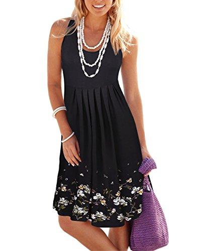 (KILIG Summer Casual Loose Print Pleated Sleeveless Vest Dresses(Black, L))