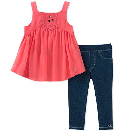 Calvin Klein Baby Girls Tunic Leggings Set, Coral/Dark wash Blue, 12M