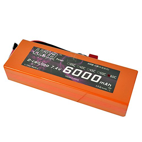 2S Lipo Battery 7.4V 6000mAh 60C RC battery Hardcase with Deans T plug for RC Car Truck Boat Traxxas slash Airplane Helicopter Hobby Orange (5.48 x 1.81 x 1.03 in)