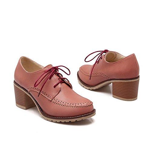 VogueZone009 Damen Mittler Absatz Rein Schnüren Weiches Material Rund Zehe Pumps Schuhe Pink