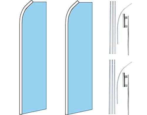 2 Swooper Flutter Feather Flags plus 2 Poles /& Ground Spikes SOLID LIGHT BLUE