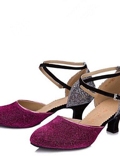 ShangYi Womens Dance Shoes Sandals Glitter Chunky Heel Fuchsia/Blue/Black/Purple Black