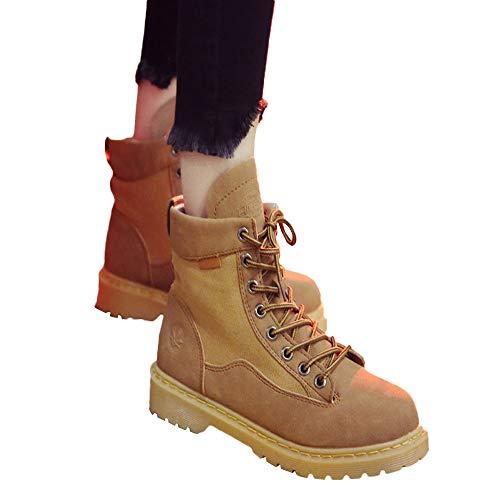 Alta Alta Stivali in Round Amlaiworld Amlaiworld Donna Donne Scarpe Toe Stivali Trekking Khaki da Lace Caviglia Up Pelle Combattimento IwI1qBF