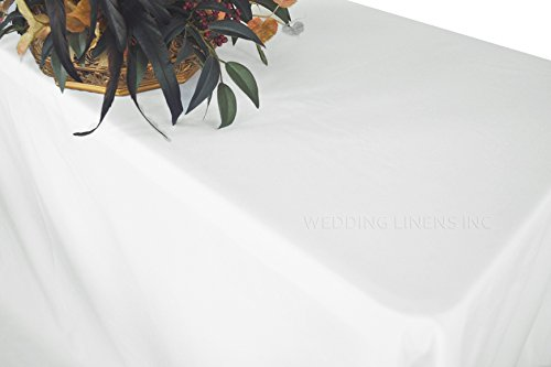 """Wedding Linens Inc. Wholesale (200 GSM) 60"""" x 120"""" Rectangular Polyester Tablecloths Table Cover Linens for Restaurant Kitchen Dining Wedding Party Banquet Events - White"""
