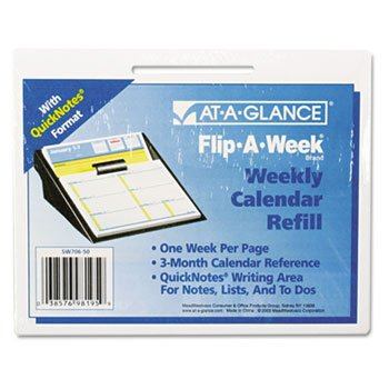 AT-A-GLANCE QuickNotes Flip-A-Week Desk Calendar Refill with QuickNotes Format, 5 x 8 Inches, 2013 - Refill Mead Calendar