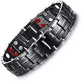 Hottime Double Row 4 IN 1 Bio Elements Energy Titanium Steel Magnetic Therapy Bracelet (Black Gun)