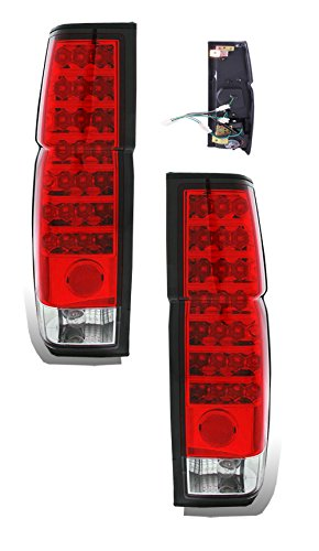 - SPPC Red/Clear LED Tail Lights Assembly Set For Nissan Hardbody - (Pair) Driver Left and Passenger Right Side Replacement