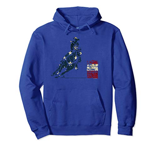 Barrel Racing Hoodie: Distressed American Flag Horse Hoodie ()