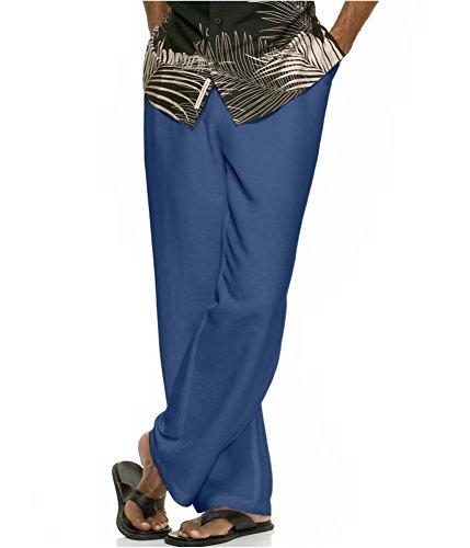 허리 신축성 허리띠가있는 Cubavera 남성용 Drawstring 바지/Cu..
