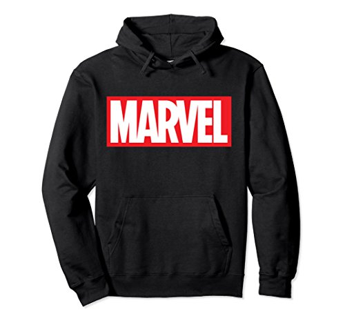 Unisex Marvel Classic Bold Red Logo Graphic Hoodie Large Black ()