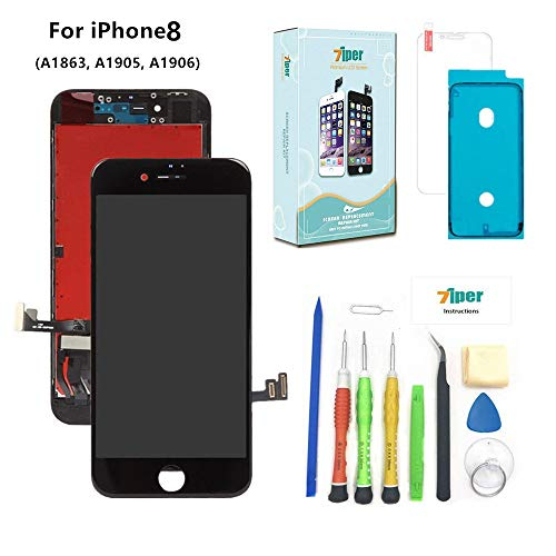 Screen Replacement Compatible iPhone 8 (4.7 inch) -3D Touch LCD Screen Digitizer Replacement Display Assembly Repair Kits with Waterproof Adhesive, Tempered Glass, Tools,Instruction (Black)