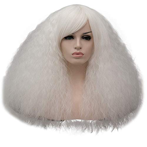 TopWigy Women White Fluffy Cosplay Wig with Fringe 16 Inches Synthetic Heat Resistant Kinky Wig for Halloween Costumes -