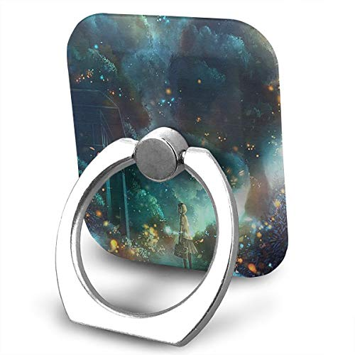 Happy Index Fireflies and Girls 360° Rotation Cell Phone Ring Holder Cellphone Finger Stand for iPhone, IPad, Samsung Galaxy S9/S8 and More Smartphones