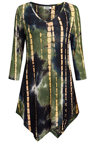 Ninedaily Tie Dye Shirt, Tunic Tops for Leggings for Women Texture Fitted and Flare A Line Loose Blouse Flowy Irregular Hemline Sweatshirt ArmyGreen Size M