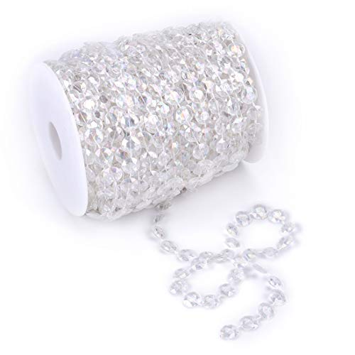 Tosnail 99 ft Crystal Beads by The Roll Crystal Beads String Beads Chain Crystal Garland Roll for Wedding Decorations Party Decoration Crafting Projects (Colorful) (Crystals String Of)