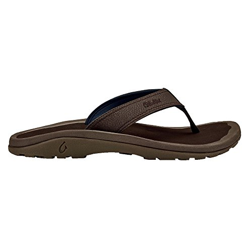 OLUKAI Men's Ohana Sandals, Dark Wood/Dark Wood, 13 M US