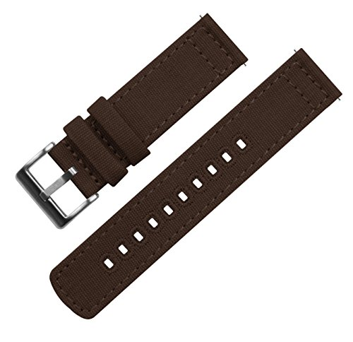 BARTON Canvas Quick Release Watch Band Straps - Choose Color & Width - 18mm, 20mm, 22mm - Chocolate Brown 20mm by Barton Watch Bands (Image #1)