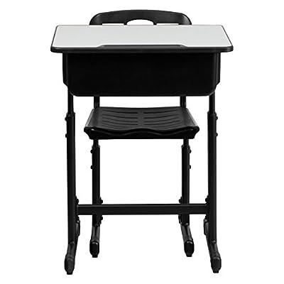 Flash Furniture Adjustable Student Desk and Chair with Black Pedestal Frame
