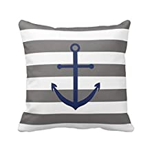 Dark Grey And Navy Blue Anchor Pillow Personalized 18x18 Inch Square Cotton Throw Pillow Case Decor Cushion Covers