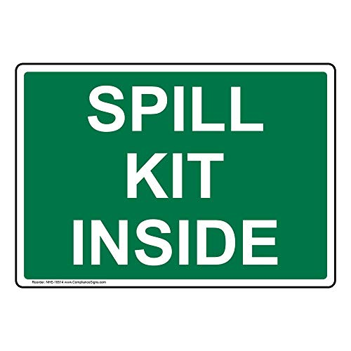 Spill Kit Inside Label Decal, 7x5 inch Vinyl for Facilities by ComplianceSigns (Spill Kit Sticker)