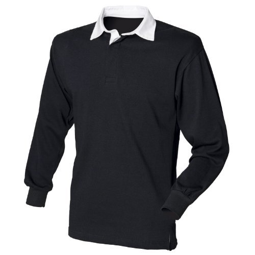 (Front Row Long sleeve plain rugby shirt Black/White)