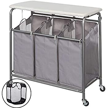 storage maniac laundry sorter with ironing board 3 section heavy duty rolling. Black Bedroom Furniture Sets. Home Design Ideas