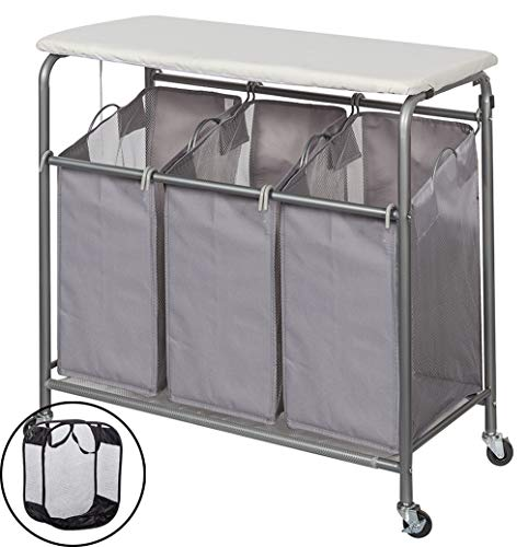 (STORAGE MANIAC Laundry Sorter with Ironing Board 3-Section Heavy-Duty Rolling Laundry Cart with Free Laundry Hamper, Grey )