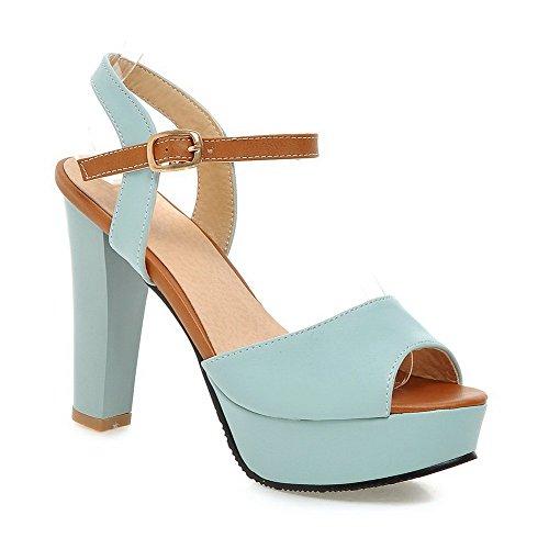 Allhqfashion Mujeres High Heels Charol Solid Hebilla Peep-toe Sandalias Azul
