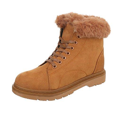 Zapatos para mujer Botas Tacón ancho Botines de cordones Ital-Design Braun