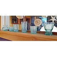 Luna Bazaar Victorian Elegance Vintage Green Glass Candle Holder Set of 6