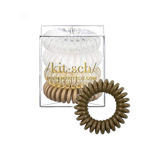 Kitsch Spiral Hair Ties, Coil Hair Ties, Phone Cord Hair Ties, Hair Coils - 4 Pcs, Blonde ()