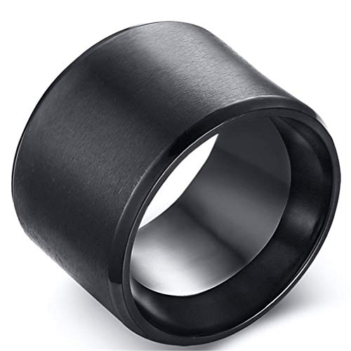 Fashion Month Men Black Stainless Steel 15mm Cool Wide Band Big Thumb Finger Ring Matte Finish Beveled Edges Size 12