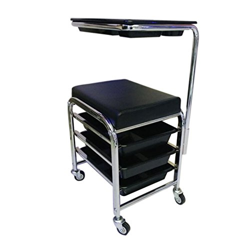 SalonTrolley Professional Hairdressing Stool for Manicure Pedicure Black Nails Cart Stool Chair Salon SPA With 3 Drawers by SalonTrolley