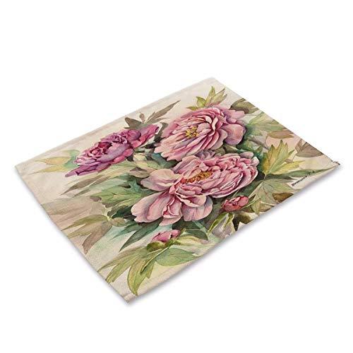 Simple style Placemats,Watercolor Plant Art Flower Arrangement Cotton Fabric Insulation Western Place Mat, E, (4 Pack) table Mats