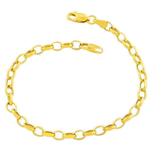 Kooljewelry 14k Yellow Gold 5.8-mm Fancy Oval Rolo Charm Bracelet (7 Inch) 14k Yellow Gold Rolo Bracelet
