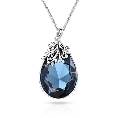 Alantyer Teardrop Pendant Necklace Made with Navy Blue Swarovski Crystal Best Gift for Women,18