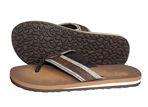 Peach Couture Mens Flip Flop Synthetic Suede Stappy Beach Flats Sandals Taupe 11