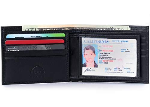 alpine swiss Men's RFID Blocking Leather High Capacity Bifold Wallet, Black, One Size