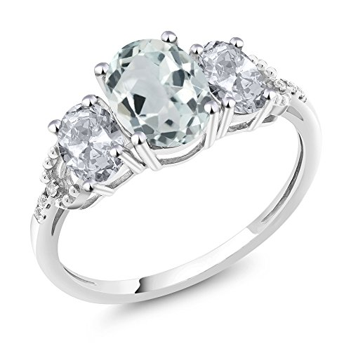 Gem Stone King 10K White Gold Sky Blue Aquamarine White Topaz and Diamond Accent 3-Stone Women's Engagement Ring 2.15 Ctw (Size 7) Aquamarine Blue Topaz Ring
